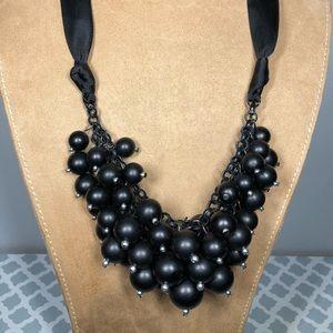 Black Bubble Ribbon Francesca Necklace